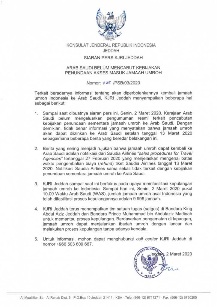02 02032020 Press Release KJRI Jeddah (Saudi Arabia belum mencabut kebijakan stop Umrah).jpg